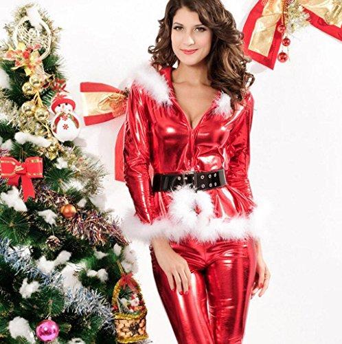 MFFACAI Frauen Fräulein Weihnachtsmann Kostüm Sexy Weihnachten T Kleid Outfit Kostüme Xmas Party Kostüm