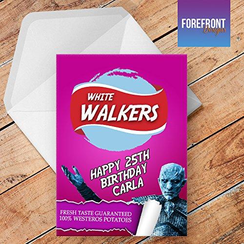 Tarjeta de felicitación personalizada con el nombre de los tronos «White Walkers» para cualquier ocasión o evento, cumpleaños, Navidad, boda, aniversario, compromiso, día del padre/día de la madre