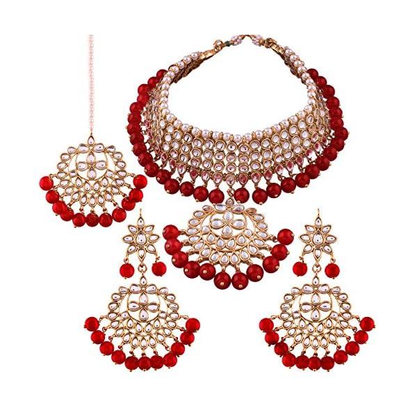 I Jewels 18K Gold Plated Traditional Kundan & Pearl Studded Choker Necklace Jewellery Set with Earrings & Maang Tikka…