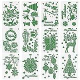 Novelfun stampini natalizi Bullet Gazzetta stencil, set di 12–Buon Natale, Babbo Natale, albero di Natale, fiocchi di neve, renne, lampadine per carta DIY disegno pittura progetti creativi