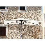 VARILANDO® Wand-Sonnenschirm in creme Wandschirm Balkonschirm Sonnenschirm Halb-Schirm Sonnen-Schutz