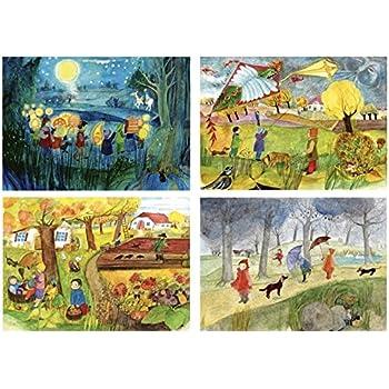 6 verschiedene Postkarten aus Recyclingpapier vom schnurverlag V/ögel im SET E.M Ott-Heidmann Postkarten Zwerge M/äuse