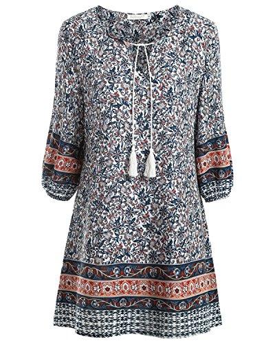 baishenggt-womens-ethnic-style-floral-print-3-4-sleeve-v-neck-tassel-drawstring-mini-dress-red-x-lar