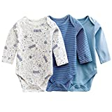 jisen® Baby Mädchen Baby Jungen 3Stück Infant Lange Ärmel Bodys, Blau - Blau, 6-9 Monate