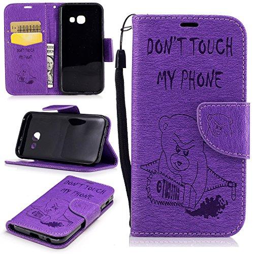 Cozy Hut Premium Handy Schutzhülle Tasche Leder Wallet Tasche Flip Brieftasche Etui Schale Mit Kartenfach Magnetverschluss Standfunktion für Samsung Galaxy A3 2017 - Lila Kettensäge Bär