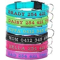 Collar personalizado para perro, collar de perro bordado con nombre y número de teléfono, punto reflectante para la seguridad de los perros, resistente y ajustable para perros pequeños, medianos y grandes, gatos, evita la pérdida de mascotas