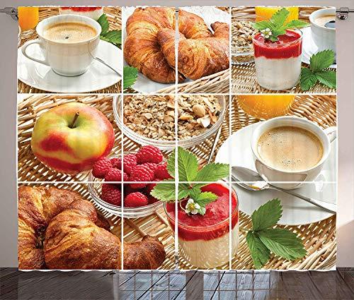 KUKUZCOQ Coffee Curtains, Breakfast with Coffee Croissants Orange Juice Fresh Strawberry Yogurt Oatmeal Photo, Living Room Bedroom Window Drapes 2 Panel Set, 57 inch X 47 inch, Brown Magenta