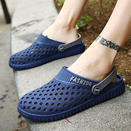 En été, Baotou, chaussons chaussures trou, amoureux paresseux, cool, la moitié de la RDP RDP, chaussures antidérapantes pour hommes sandales de plage, salle de bains, 626- blue