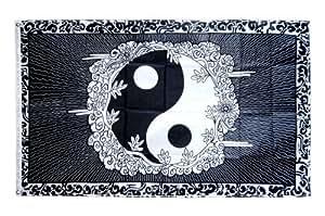 Digni® Drapeau Ying et Yang avec bordure - 90 x 150 cm