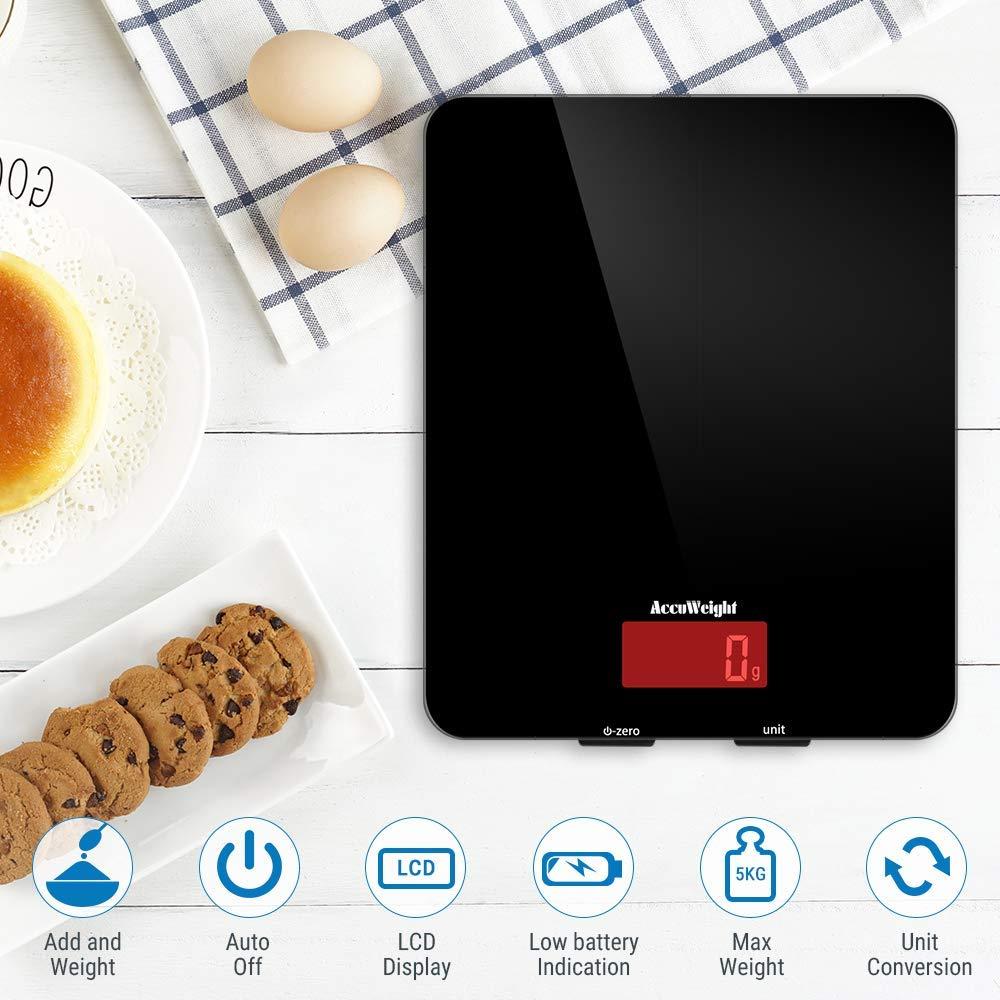 Design in Vetro Temperato Facile da... ACCUWEIGHT Bilancia da Cucina Digitale