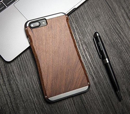 eimo iPhone 7 Plus Aluminium Housse Métal Case Bois étuis Pour iPhone 7 Plus 5,5 pouces - Noyer (A - Gris Aluminum) A-Gris-Palisander