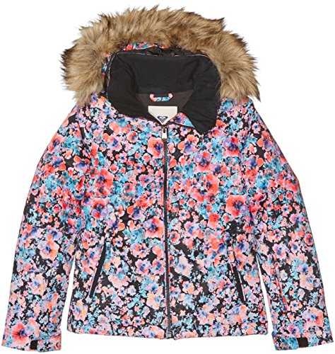 Roxy Mädchen Skijacke Madison Flowers True  Mehrfarbig(Madison Flowers True Black) FR: 16Jahre (Größe Hersteller: 16/XXL)