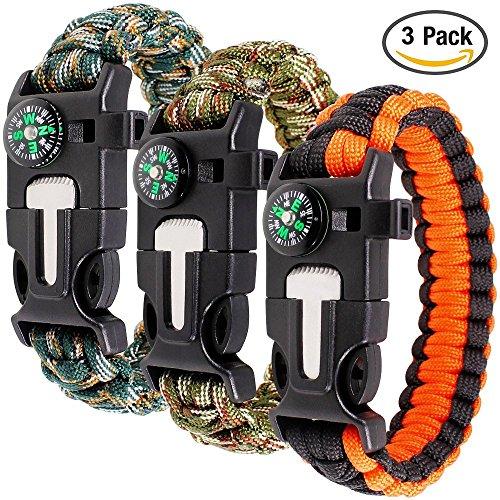 Paracord braccialetto set contiene 3 per la sopravvivenza all'aperto, maxin 9 pollici Survival Kit completo con bussola incorporata, Starter di fuoco, emergenza coltello & Whistle.