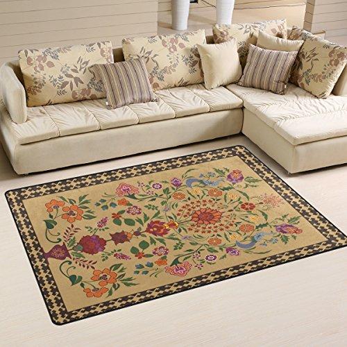 yibaihe, leicht, bedruckt mit Deko-Teppich, Teppich, modern, Vintage Orientalische Blumen Muster wasserabweisend stoßfest. Für Wohn- und Schlafzimmer, 153 x 100 cm -