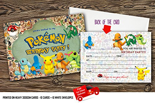 design buddies Pokémon Einladungen für Kindergeburtstag, mit 10 Umschlägen, 10 Stück - 50