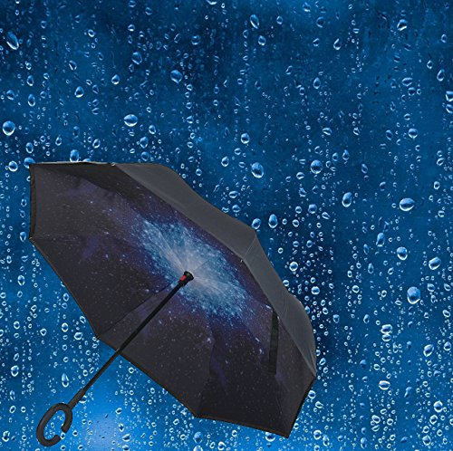Rifuli® Sternenhimmel Regenschirm Moderner umgedrehter umgekehrter Regenschirm C-Griff-Double-Layer-Inside-Out-Farben