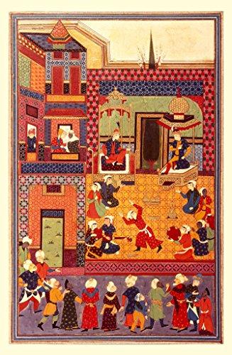 """Stampa artistica / Poster: 17. Jahrhundert """"Court celebration / Persian miniature"""" - stampa di alta qualità, immagini, poster artistici, 55x85 cm"""