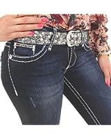 Coole Damen Jeans von Cipo & Baxx dunkelblau mit weißen Ziernähten