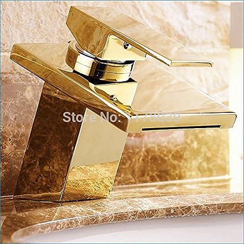 Maifeini Antike Einhebel Waschtischmischer Wasserfall Golden, Messing Single-Seat Einloch Mischung Aus Warmen Und Kalten Tippen,