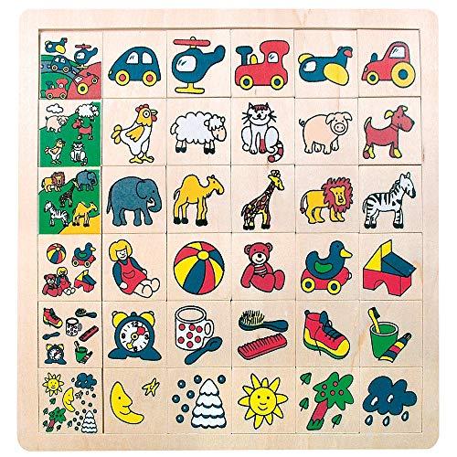 """Bino & Mertens 84079 Legepuzzle """"was gehört wohin"""", 36 tlg., bunt, 30 Einzelmotive sollen zu den 6 Motivbildchen zugeordnet, im Holzrahmen, plaziert werden.Größe ca. 30,5x1x30,5 cm."""