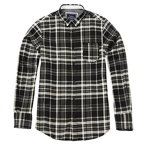 mens-check-shirt-tame-long-sleeve-placket-brave-soul-soft-brushed-cotton-large-black-silver-grey
