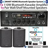 SMART HOME BLUETOOTH 2 SPEAKER SYSTEM - 2x Black Wall Mounted Speakers