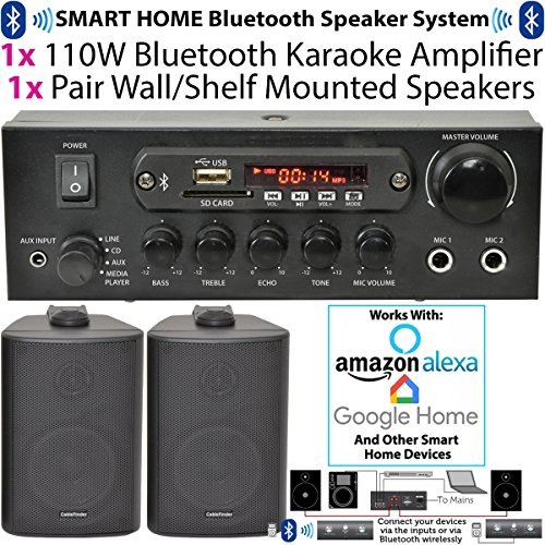 SMART HOME BLUETOOTH SPEAKER KIT -110W Amplifier & 2x Corner Wall Speakers *ECHO/ALEXA* Compact Mini Wireless HiFi TV Background Audio System -Kitchens, Bedrooms, Parties, Movies & Home Player Amp