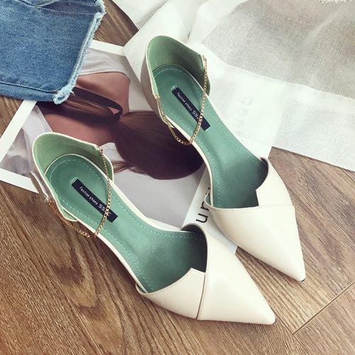 Shoeshaoge Stiletto Talon Chaîne Avec Des Chaussures Spring Summer Hollow Chaussures De Banquet Couleur Unie Chaussures Pour Femmes