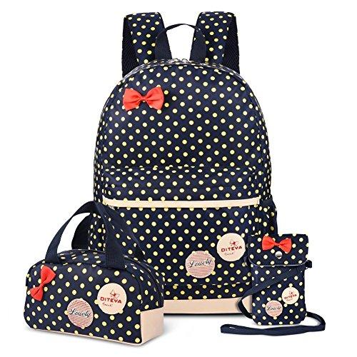 Impermeabile zaino scuola per ragazze, xiaoyao borsa per scuola elementare 3 sets (blu)