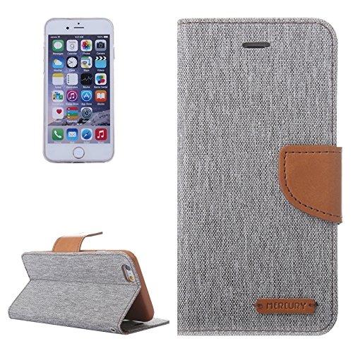 Wkae Case Cover Denim Textur Horizontal-Schlag-Leder-Kasten mit Halter & Card Slots & Wallet für iPhone 6 & 6S ( Color : Red ) Grey