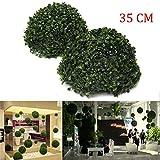 EgBert 35Cm Plastica Artificiale Topiaria Erba Sfera Foglia Effetto Palla Matrimonio Giardinaggio Appeso Decorazione