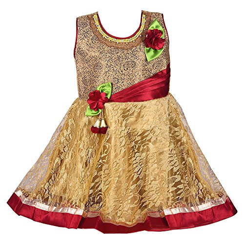 Wish Karo Party Wear Baby Girls Frock Dress (fr1525-18-24 Mths_Maroon_18 - 24 Months)