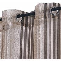 Cortinas Visillos Translúcidos Rayas con Ollaos, Decoración para Ventana Salón Habitaciones Balcón, 140x260cm 2 Piezas, Marrón