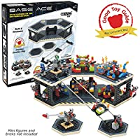 Base Ace 3D Play Platform for Minifigures EVO Kit Construction Toy for Mini Figures, Blue Lines, Compatible with Major Brick Brands