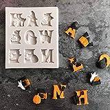 HESDEL Kürbis-Form für Fondant, Kuchen, Halloween, Buchstaben, Gespenst, Katze, Zuckerguss, Dekoration, Off-White