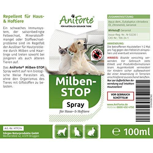 AniForte Milben Stop Spray 100 ml – versch. Größen – Naturprodukt für Hunde, Katzen & Pferde - 2