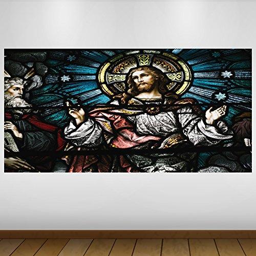 EXTRA GROßE Jesus Christ Glasmalerei Religion Vinyl Sticker Poster Wandsticker Wandtattoo Wandbild Wanddeko -140cm x 70cm (p2817)