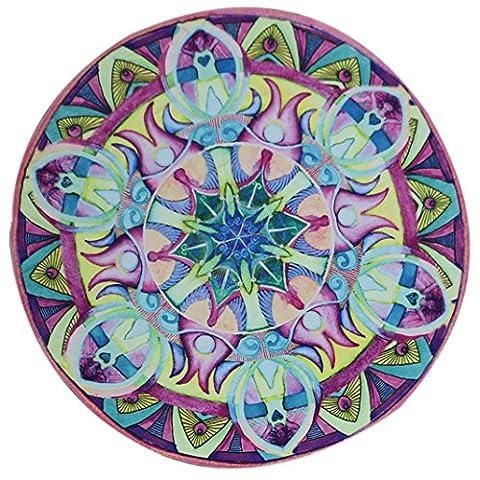 Ularma Fleurs Rond Plage Serviette Yoga PIC-NIC Couverture Couvre-lit Imprimé Plage Serviette (D)