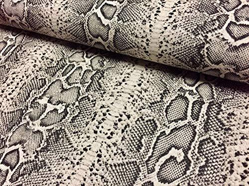 LushFabric Python-Stoff, Leinen-Baumwoll-Mischgewebe, für Vorhänge, Kleider, Polstermöbel, 140 cm breit, Schwarz/cremefarben, 2 m - Python-stoff
