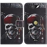 TienJueShi Skull Flip Book-Stand Cuir Housse Coque Etui Cas Couverture Protecteur Case Cover Skin Pour Crosscall action x3 5 inch