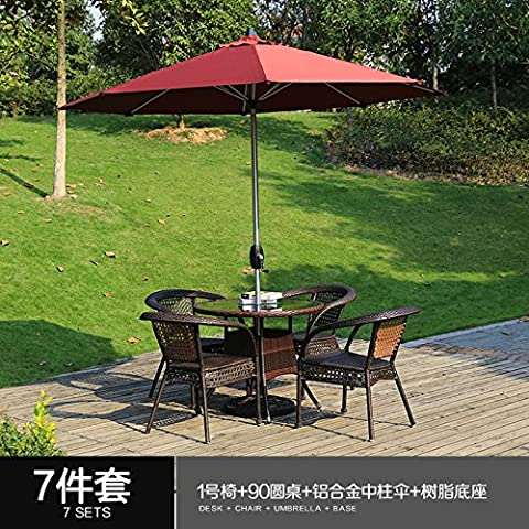 LZL The combination of 35 sets of outdoor furniture rattan chair Teng small tea table outdoor patio balcony simple leisure chairs,90 round table 4 Zhang 1 Chair aluminum middle column