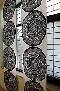 mandala indiano porta finestra tenda, tende in voile, portiere tende mantovane sheer cortina 2pannello set 233,7x 116,8cm Bhagyoday Fashions