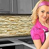 Küchenrückwand < Steinwand Hell > Premium Hart-PVC 0,4 mm selbstklebend 280x60cm