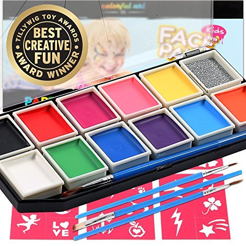 Colorful Art Co. Face Paint Schminke-Set für Kinder - Premium Face Painting Kit - Wasserbasiertes Kinderschminke-Set - 12 Farben + 3 Pinsel + 30 Malerschablonen - für empfindliche Haut
