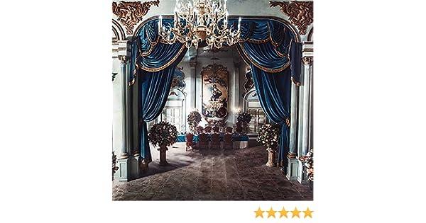 Ch/âteau Int/érieur Mariage Photographie Toile de fond bleu Rideau Lustre en cristal Pierre piliers Fresco vintage Studio photo Booth arri/ère-plan Tissu 3/x 3/m