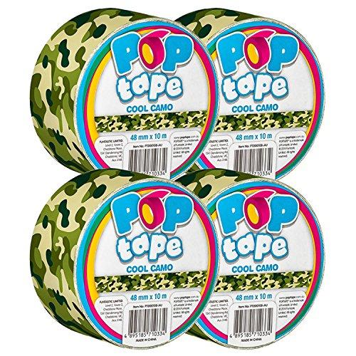 Tape Duck Bedruckt (Pop Tape Deko bedruckt Panzerband, 48mm x 10m breit Vinyl Kunststoff Gaffer Klebeband, selbstklebend & Pressure Sensitive für Creative Crafts bunten Cool Camoflage (4 Rolls))