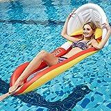 JanTeel Hamaca Inflable del Flotador, colchón de Aire Cama de Agua Tumbona de natación al Aire Libre de Verano con toldo Desmontable, para niños Adultos Fiesta en la Piscina (Rojo-Upgraded)