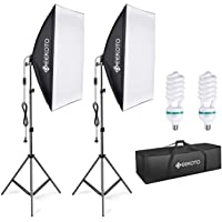 GEEKOTO softbox set photo studio 50 x 70cm, continuous light studio light set with 2 ...