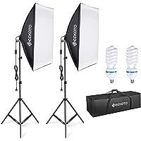 GEEKOTO softbox set photo studio 50 x 70cm, continuous light studio light set with 2 ...
