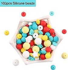 baby tete Baby Silikon Perlen zum Zahnen 100 Stück Lose Organische Pflege Schmuck Beißring Rosa Serie DIY Halskette Anhänger